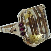 Vintage 14K Yellow Gold Orange Topaz Ruby Large Ring with Arthritis Shank