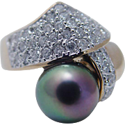 Estate 14K Yellow Gold 10mm Tahitian Peacock Cultured Pearl Diamond Ring
