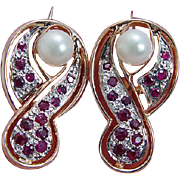 Vintage 14K Rose Gold Cultured Pearl Ruby Rubies Euro Locks Earrings Jewelry