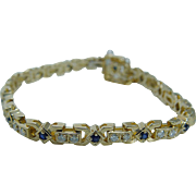 "Estate 14K Yellow Gold Sapphires Diamonds Bracelet 6.75"" Long VIDEO"