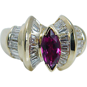 Estate 18K Yellow Gold Marquise Ruby Diamonds Band Ring Jewelry VIDEO