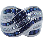 Estate 14K White Gold Diamond Sapphire Criss Cross Band Ring Diamonds Sapphires