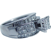 Estate 14K White Gold Invisible 1.30ct Diamond Engagement Ring with Diamonds