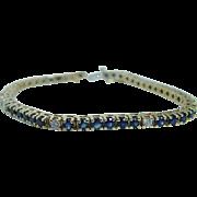 "Estate 14K Yellow Gold Sapphires Diamonds Tennis Bracelet 7"" Long VIDEO"