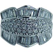 Estate 14K White Gold Tapered and Round 2.40ct Diamonds Wide Band Ring
