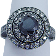 Estate 18K Black Gold 4.0ct Diamond Diamonds Millgrained Setting Eternity Ring