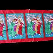 "100% Silk Japan June Critchfield Long Scarf 53x10.5"" Angels Amazing Colors"