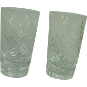 Vintage Russian USSR Soviet Union Two Crystal Shot Glasses