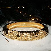 SIGNED SWAROVSKI~Swan Stunning Vintage Goldtone Crystal Heart Statement Bracelet