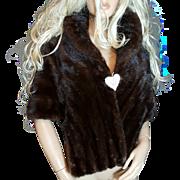 HARRIS FURS~Stunning Vintage Mahogany/Brown Mink Fur Stole/Wrap/Cape/Shawl