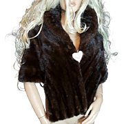 HARRIS FURS~Stunning Vintage Mahogany/Brown Mink Fur Stole/Wrap/Cape/Shawl