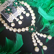 Swarovski~Vonelle/Savvy~Simulated Knotted Pearl Emerald Green Crystal Fringe Necklace/Earrings