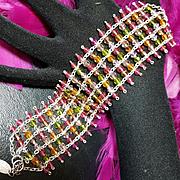 ALZERINA~Pink/Green/Amber Swarovski Crystal Runway Statement Bracelet