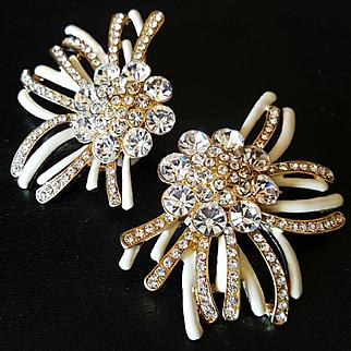 MILLY~Stunning Vintage Huge Goldtone/Ivory Enameled/Crystal Runway Statement Clip Earrings