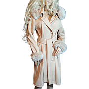 LUNDSTROM~SZ 10/12~Amazing Beige Trench Coat W/Removable Faux Fur Trim Hood/Sleeves