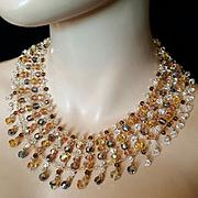 Vintage~$845~Amazing ALZERINA Amber Aurora Borealis Swarovski Crystal Statement Bib Necklace