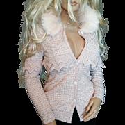 EBASE~SZ S~Stunning Pale Pink Embellished Sweater Jacket/Faux Fur Trim Collar