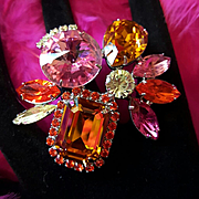 JOOMI LIM~SZ 7/8~Massive Vintage Pink/Orange Rhinestone/Swarovski Crystal Runway Statement Ring