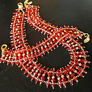 ALZERINA~Signed Amazing Red/Gold Aurora Borealis Swarovski Crystal Statement Necklace/Bracelet