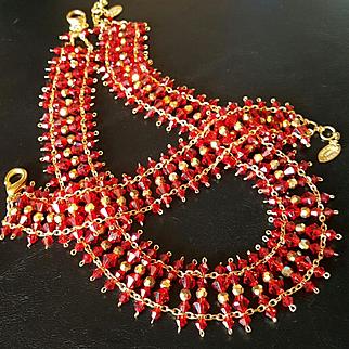 ALZERINA~Signed Amazing Red/Gold Aurora Borealis Swarovski Crystal Statement Necklace/Bracelet