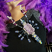 Spectacular Huge Blue/Purple Swarovski Crystal/Rhinestone Rondell Scorpion Pin/Brooch