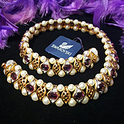 Vintage Swarovski Swan Signed Pearl/Amethyst Crystal Statement Choker Necklace