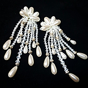 Breathtaking Vintage Simulated Pearl/Rhinestone Rondell Runway Statement Earrings