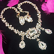 CAROLEE Stunning Swarovski Crystal/Rhinestone Runway Statement Necklace/Earrings