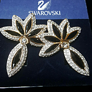 NOS~SWAROVSKI~Swan Signed Vintage Huge Black Crystal Door Knocker Pierced Statement Earrings