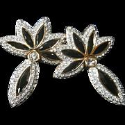 NOS~SWAROVSKI~Swan Signed Vintage Huge Black Crystal Door Knocker Pierced Statement Earrings