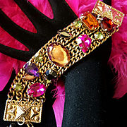 Amazing Vintage Huge Pink/Purple/Orange Rhinestone Statement Chain Bracelet