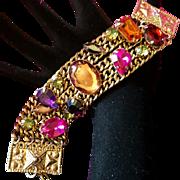 Amazing Vintage Huge Pink/Purple/Orange Rhinestone Statement Chain Bracelet