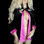 Ronni Nicole By QUIDA~Beautiful Black Velvet Hot Pink Lining Dress Coat/Cape/Jacket