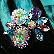JOOMI LIM~Huge Breathtaking Blue Aurora Borealis Swarovski Crystal/Rhinestone Statement Ring
