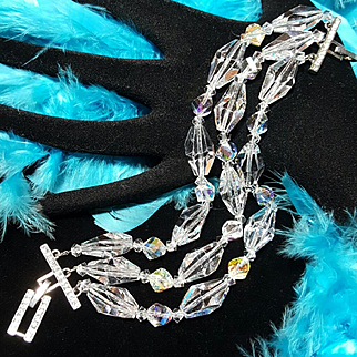 Rare AVON Rep Sales Award Aurora Borealis Swarovski Crystal Statement Bracelet
