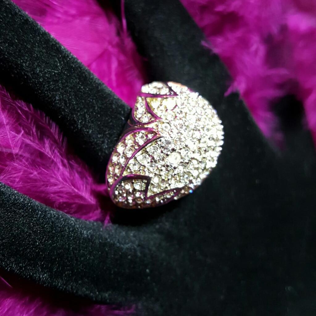 SWAROVSKI Sal Signed Huge Domed Crystal Runway Statement Ring~Sz 5 To 6.5~Adjustable