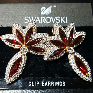 NOS~$250~SWAROVSKI~Swan Signed Amazing Ruby Red/Clear Crystal/Rhinestone Drop Statement Earrings