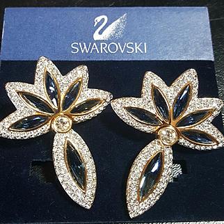 NOS~$250~SWAROVSKI~Amazing Blue/Clear Crystal/Rhinestone Drop Clip Statement Earrings