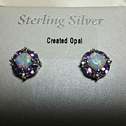 Stunning Vintage Sterling Silver 925 Created Opal/Amethyst CZ Pierced Earrings