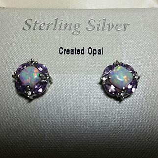Stunning Vintage Sterling Silver 925 Created Opal/Amethyst CZ Pierced Earrings