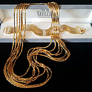 Amazing Nolan Miller Goldtone Snake Chain Crystal/Rhinestone Necklace/Bracelet