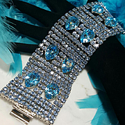 DOMINIQUE~Amazing Vintage Huge/Wide Sky Blue Crystal/Rhinestone Runway Statement Bracelet