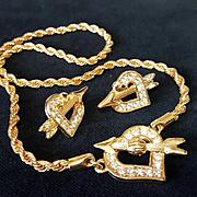 SWAROVSKI~Swan Signed Stunning Vintage Goldtone Crystal Heart Necklace/Earrings