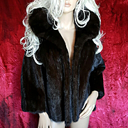 Elder Beerman~M/L~Amazing Vintage Sable/Deep Brown Mink Fur Coat/Jacket/Stole/Wrap