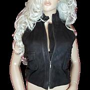 Robert Rodriguez~Sz 6/S~Beautiful Vintage Dark Brown Suede/Leather Vest/Jacket