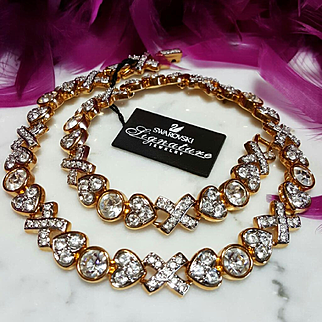 Vintage Swarovski Swan Signed XO Hugs & Kisses/Heart Crystal Statement Necklace