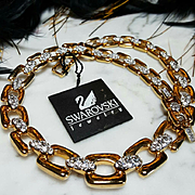 SWAROVSKI~New Vintage Swan Signed Stunning Goldtone Crystal Statement Necklace