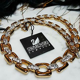 SWAROVSKI~New Vintage Swan Signed Stunning Goldtone Crystal Statement Necklace