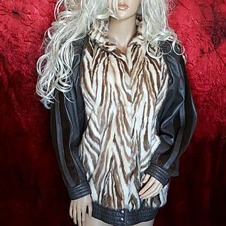 SOMPER Beverly Hills~Sz L~Vintage Brown Leather Blonde Mink Fur Coat/Jacket
