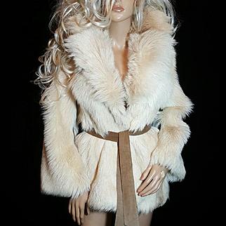DINO RICCO ~SZ S~Amazing Vintage Off White Genuine Kid/Goat Hair Fur Coat